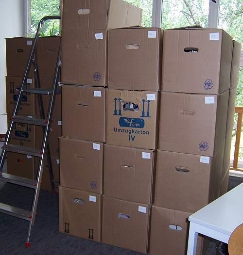 Schulbibliotheksumzug Kartons